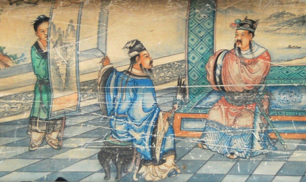 Liu Bei hears Zhuge Liang's plans for dividing the state, but contending for power.