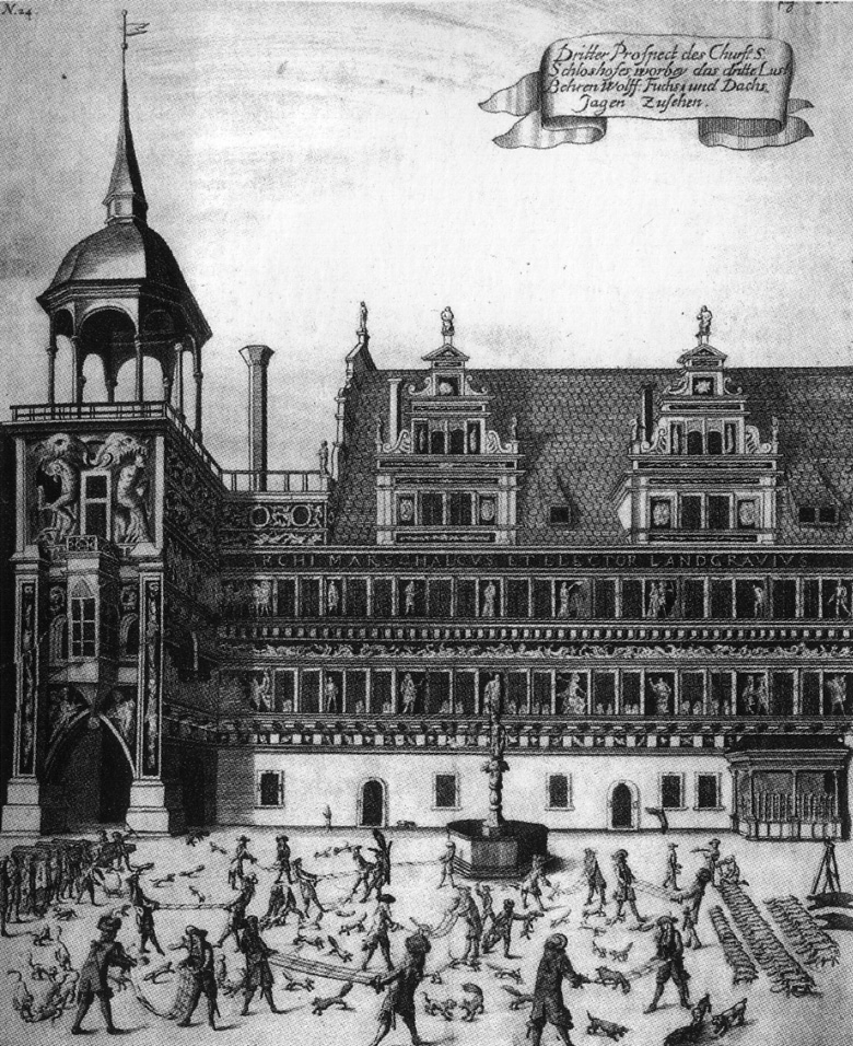 Old engraving of fox tossing in Dresden.