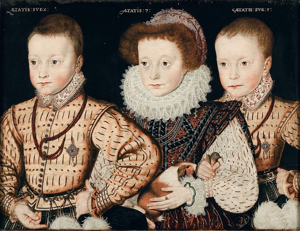 Three frilly English children from the Elizabethan age, with guinea pig and nearly dead songbird.