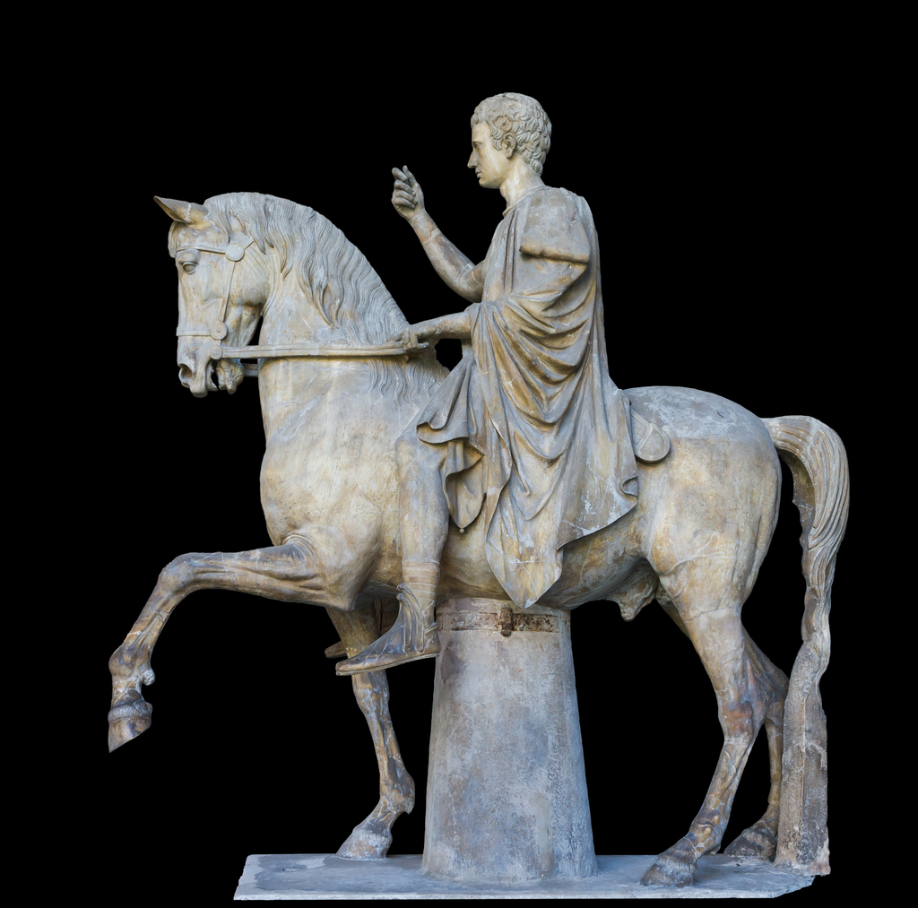 Marcus Nonius Balbus sitting right on a horse. No stirrups. Or even a blanket.