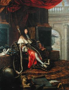 Louis XIV showing off his legs in white stockings.
