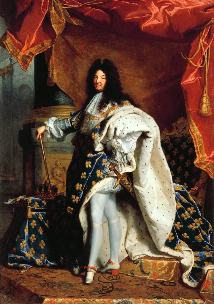 Louis XIV portrait, with an ermine lined cloak and red heeled shoes.