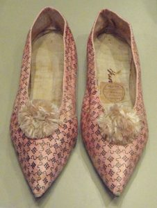 Women's slippers, 1800. You wouldn't look twice at these, if someone wore them today.
