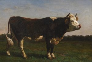 painting of a bull (title: monarch of the herd) by Rosa Bonheur