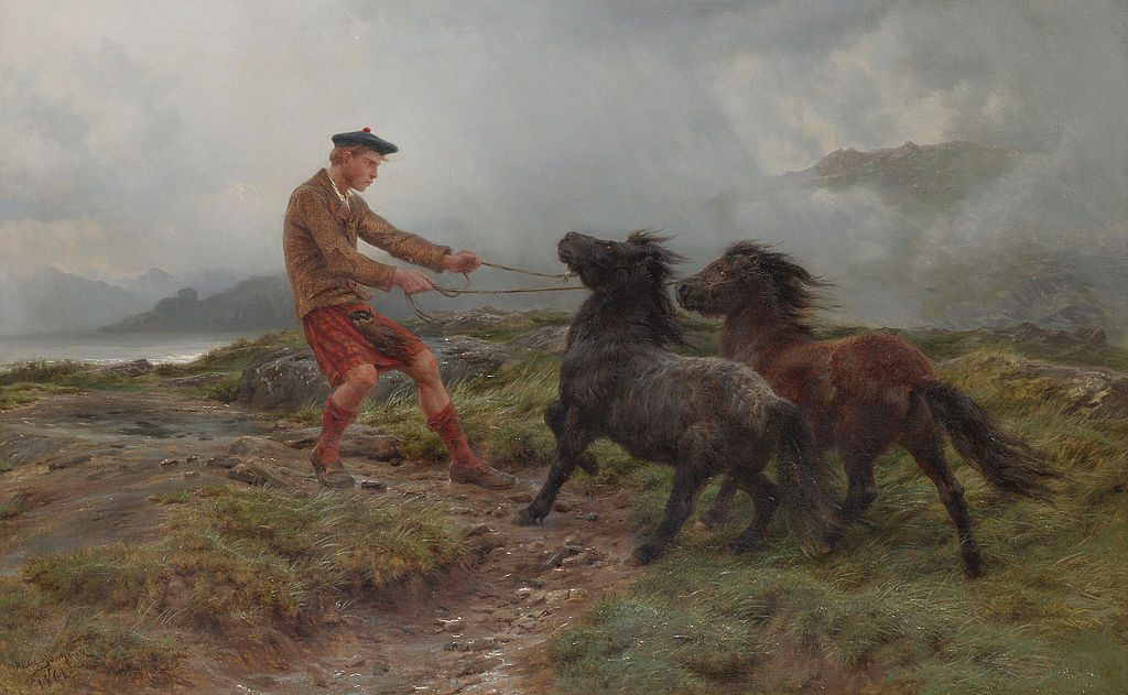 A Ghillie and Two Shetland Ponies in a Misty Landscape by Rosa Bonheur. Hey: it's got a human in it! I see what you did there.