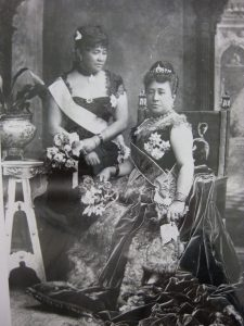 Photgraph of Crown Princess Liliuokalani and Queen Kapiolani at Queen Victoria's Golden Jubilee, 1887.