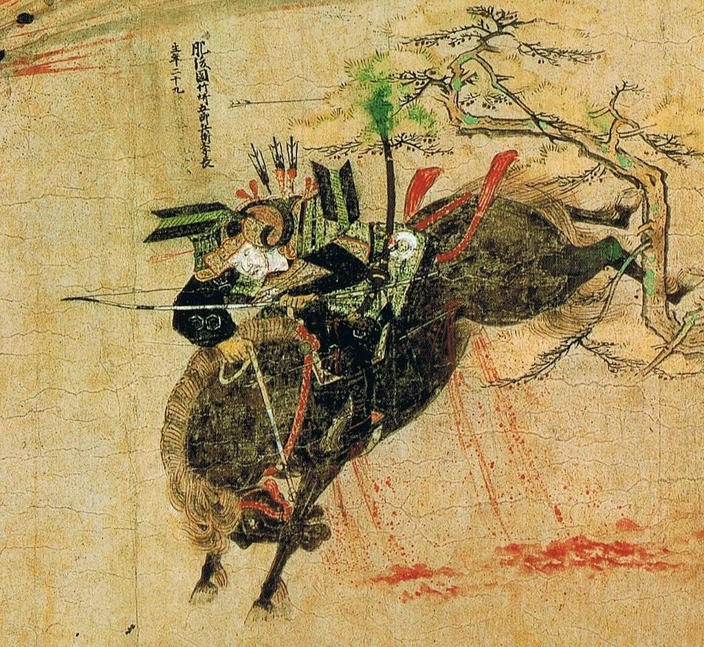 Takezaki Suenaga on his horse. The horse has been hit by several arrows.