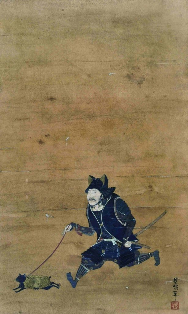 It's a painted wall scroll. Of a samurai in black armor with kitty ears on the helmet, walking a cat - who also is wearing armor, on a leash.