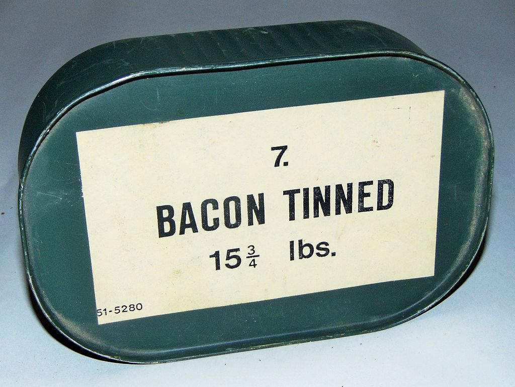 A giant can of bacon, 70 years old, WWII rations from the UK.