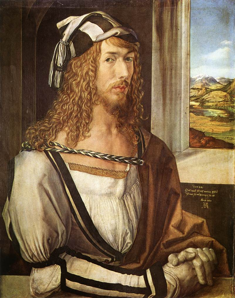 Albrecht Dürer wearing about as many layers as possible, in fashionable disarray.