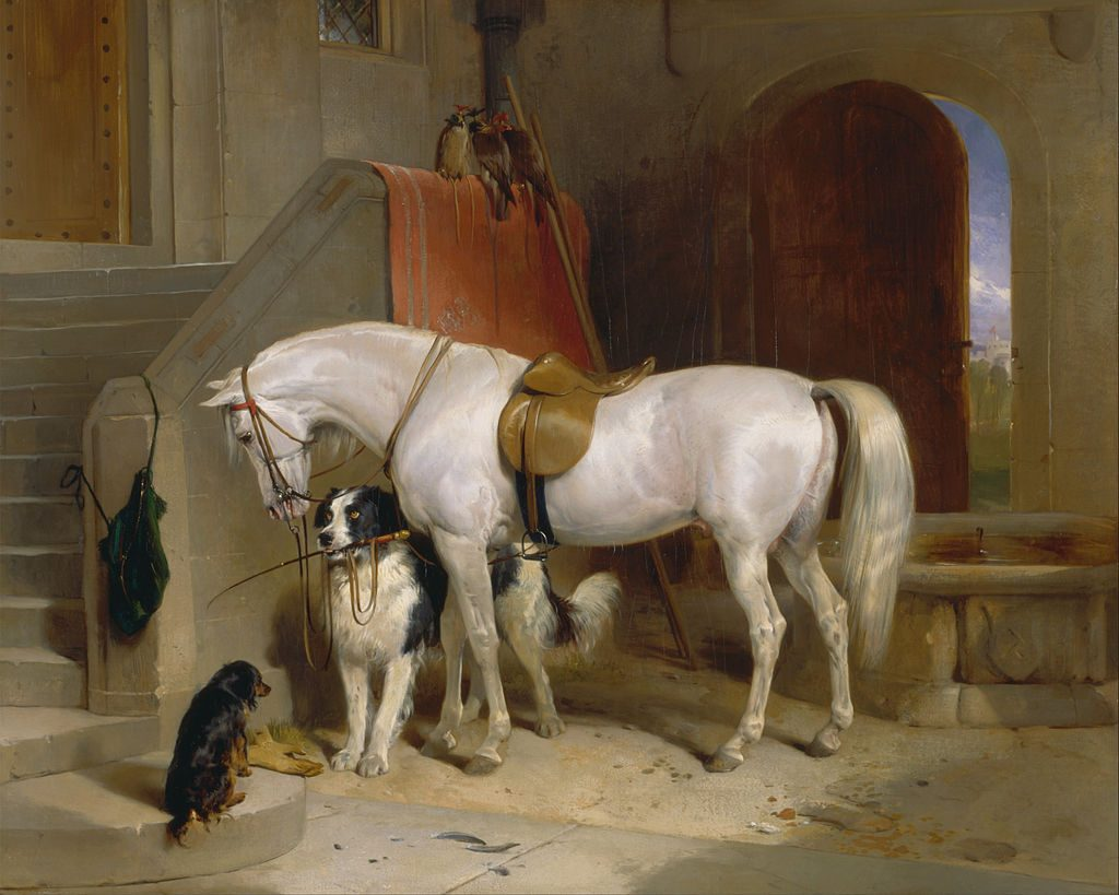 two dogs, a horse, and three falcons in too close proximity in a very nice 19th century English painting