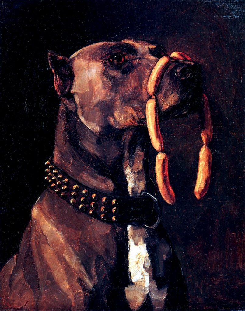 a 19th century painting of a dog with a chain of sausages on its nose.