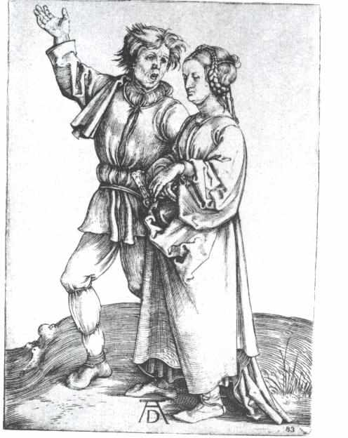 Dürer engraving showing a man in baggy giant stockings, and a woman with an elaborate hairdo.