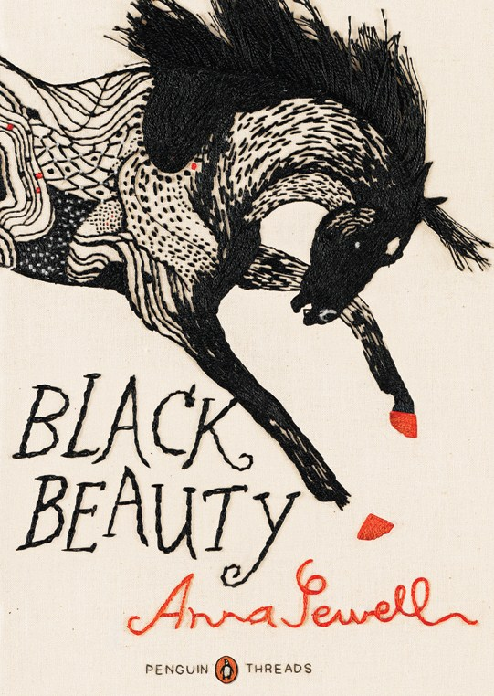 Fancy embroidery cover art for Black Beauty.
