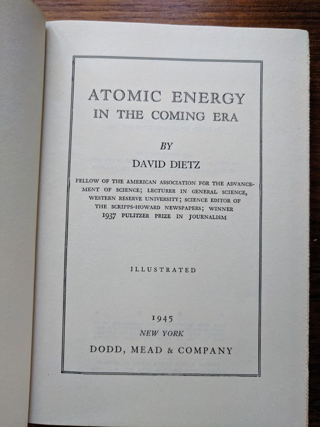 The title page of the book. 1945!