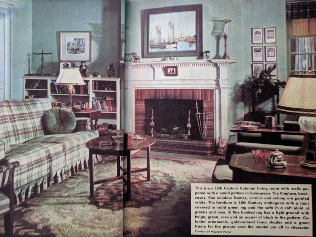 What's rose and green and colonial all over? This living room.