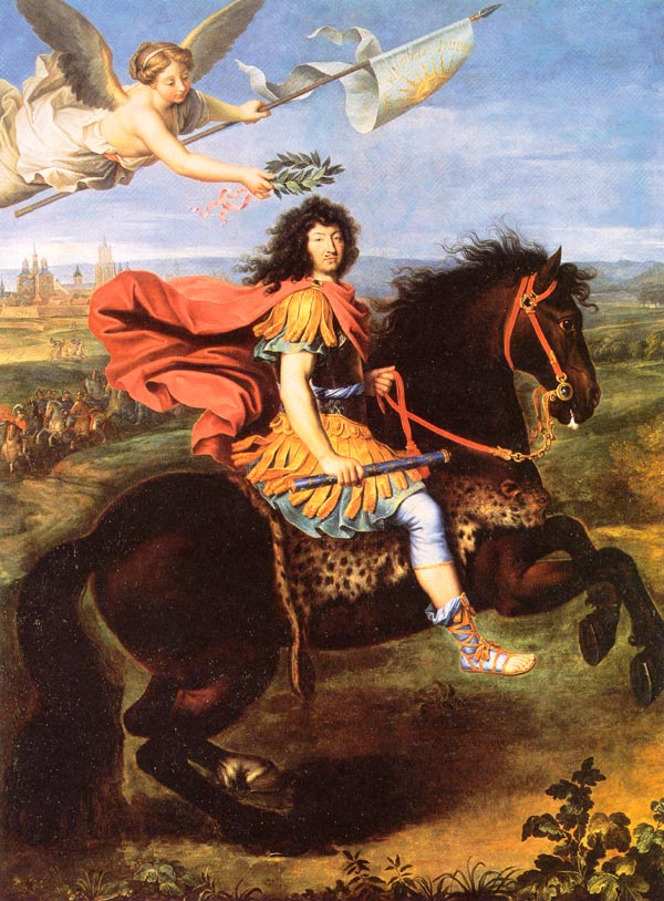 Louis XIV on a horse as a quote of a Roman equestrian statue.