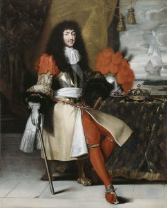 Louis XIV showing off his legs in red stockings.
