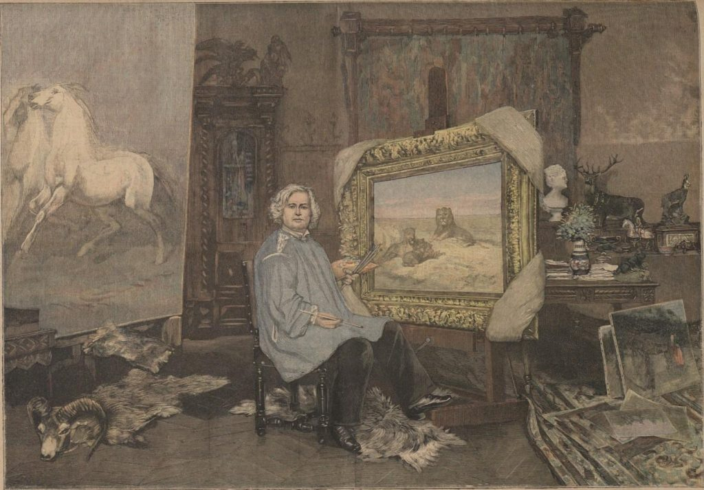 Lithograph of Rosa Bonheur in her studio.