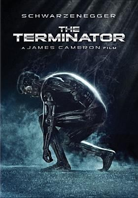 Cover of the DVD of the movie Terminator, with robo-Schwarzenegger crouching in some fog.