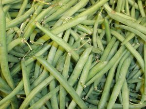 A closeup of a giant pile of green beans.
