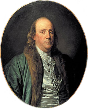 Portrait of Benjamin Franklin, in 1777.