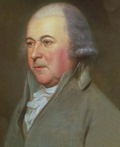 Portrait of a frowzy looking John Adams.