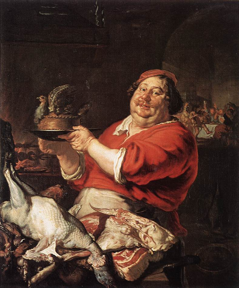 A picture representing February of a cook holding a tiny pie - what looks like a gray partridge pie I guess.