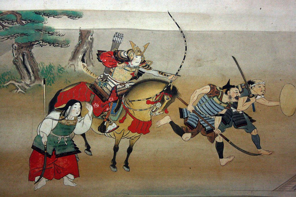 Shizuka Gozen (Yoshitsune's girlfriend), Minamoto no Yoshitsune (on the horse), and a couple of scruffy ashigaru, in a 1500s painting. Note that they've apparently scrambled out of the house without shoes, but not before putting on makeup. It's all about priorities.