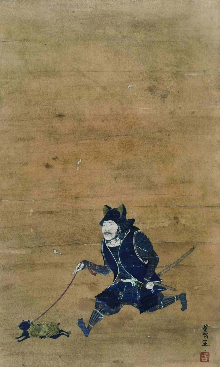 old scroll style artwork of a samurai taking a cat for a walk. Love the put out expression.